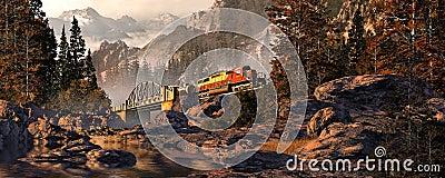 Diesel Locomotive On Steel Arched Bridge