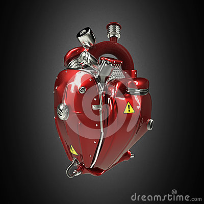 Free Diesel Punk Robot Techno Heart. Engine With Pipes, Radiators And Gloss Red Metal Hood Parts.  Isolated Stock Photo - 68043060