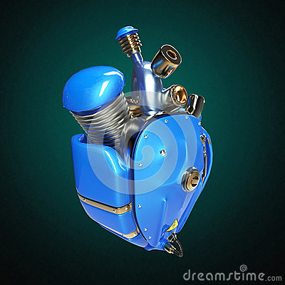 Free Diesel Punk Robot Techno Heart. Engine With Pipes, Radiators And Glossy Blue Metal Hood Parts. Isolated Royalty Free Stock Image - 68044776