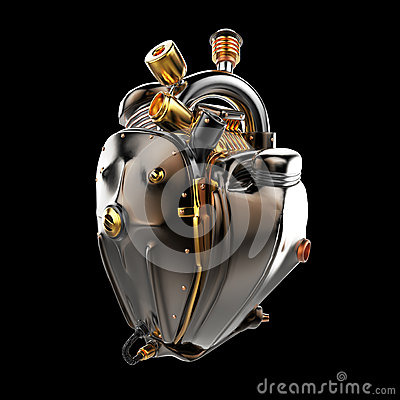 Free Diesel Punk Robot Techno Heart. Engine With Pipes, Radiators And Glossy Dark Bronze Metal Hood Parts. Isolated Royalty Free Stock Image - 68044796