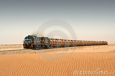 Diesel train in desert