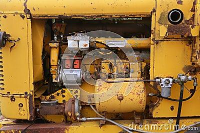 Diesel yellow tractor truck engine detail