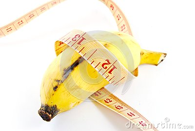 Diet banana on white background