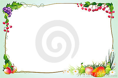 Diet border with fruits and flowers