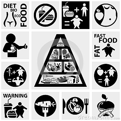 Diet and fitness vector icons set on gray