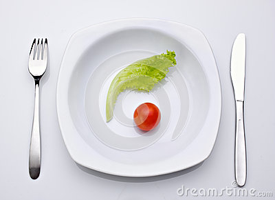 Diet idea, salad and tomato