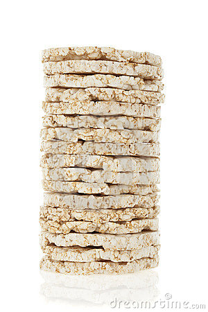 Diet rice cakes pile isolated