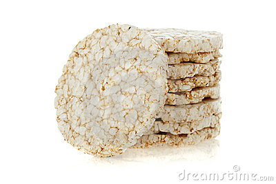 Diet rice cakes pile isolated on white