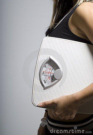 Diet scale and woman portrait shape