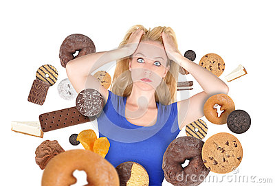 Diet Scare Woman on White with Snack Food