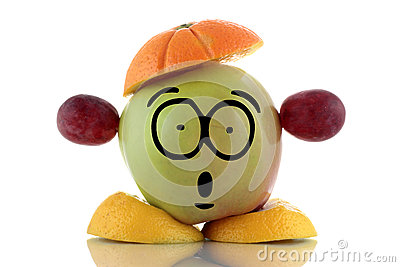 Diet time. Funny fruit character.
