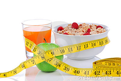 Diet weight loss concept with tape measure apple