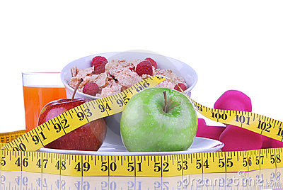 Diet weight loss concept with tape measure red