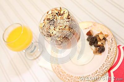 Dieta saudável do muesli do iogurte do pequeno almoço