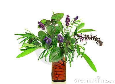 Dietary supplement from fresh herbs Stock Photo