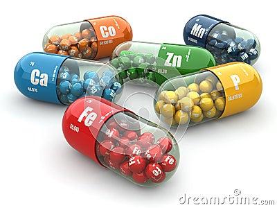 Dietary supplements. Variety pills. Vitamin capsules.
