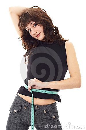 Dieting woman with measuring tape