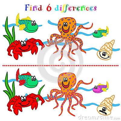 Difference game with marine life