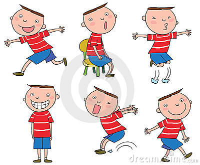 Different Actions Of A Cartoon Boy Stock Image - Image ...