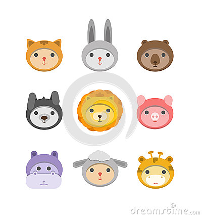 Different animal faces icons