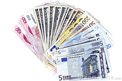 Different banknotes, fan shaped