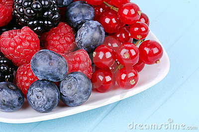 Different berries on plate