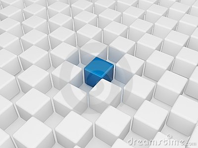 Different blue cube