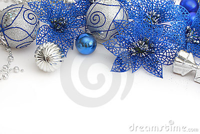 Different blue and silver christmas decoration