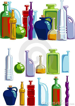 Free Different Bottles Isolated On White Background Royalty Free Stock Photos - 3432728