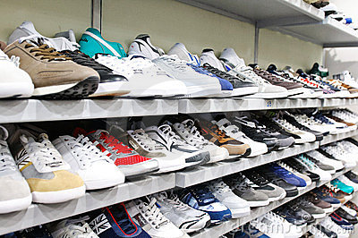 Different brands of sport shoes Editorial Stock Photo