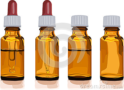 Different brown glass bottles for medicine
