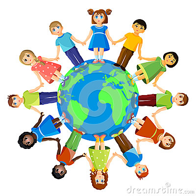 Different children standing around earth planet. Friendship and international relationships Vector Illustration