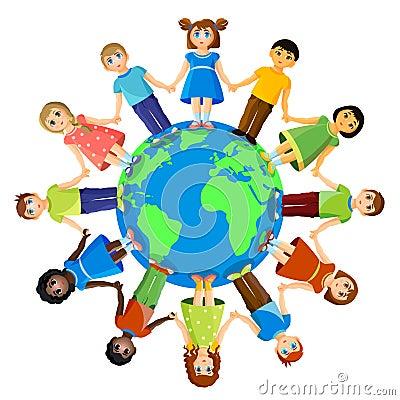 Different children standing around earth planet. Friendship and international relationships Vector Illustration