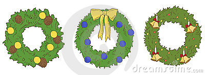 Different color christmas wreaths