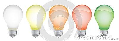 Different color lightbulbs illustration design