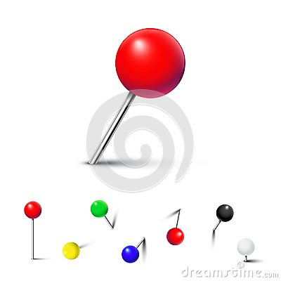 Free Different Color Pushpins Isolated On White Background. Vector Realistic Design Element. Stock Photography - 111458142