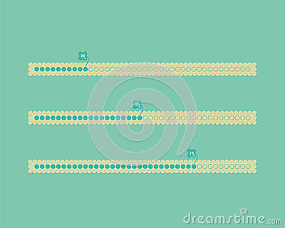Different color vector cute progress bars
