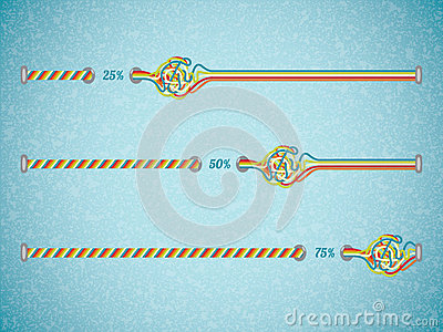 Different color vector progress bars.