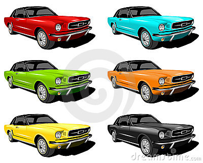 Different colored mustangs
