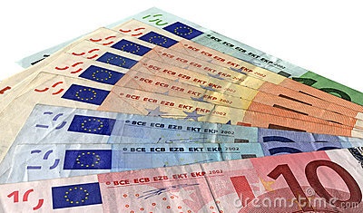 Different colorful euro isolated, savings wealth