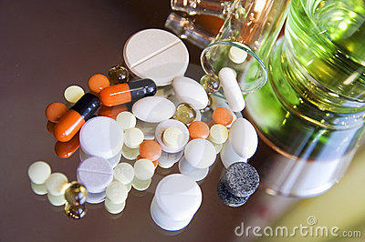 Different colorful pills and medicines