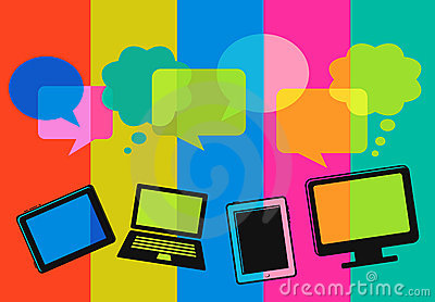 Different computer icons with speech bubbles