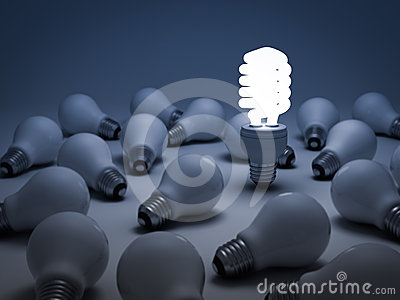 The different concept, Eco energy saving lightbulb
