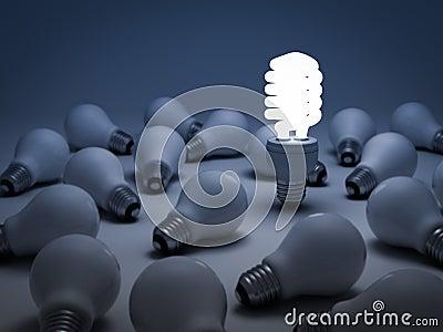 The different concept, Eco energy saving lightbulb