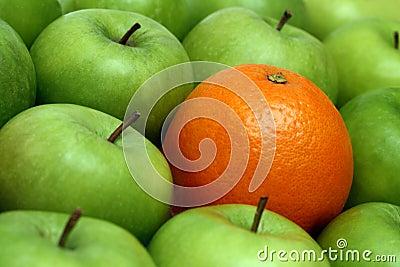 Different concepts - orange between apples
