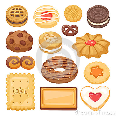 Different cookie cake isolated vector illustration Vector Illustration