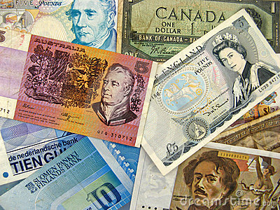 Different country banknotes