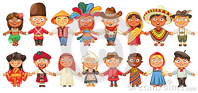 Different culture standing together holding hands Vector Illustration