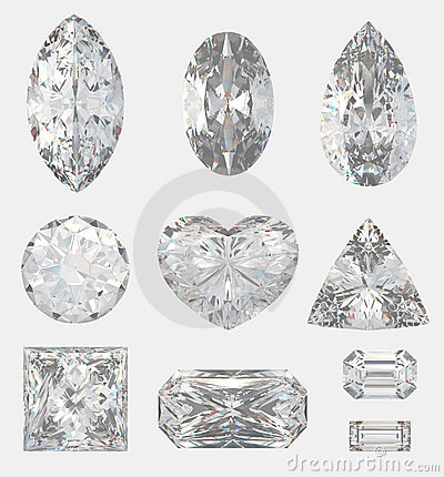 Free Different Cuts Of A Diamonds Stock Image - 12442291