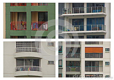 Different Design of Apartment Balcony Photo Collag Stock Photo